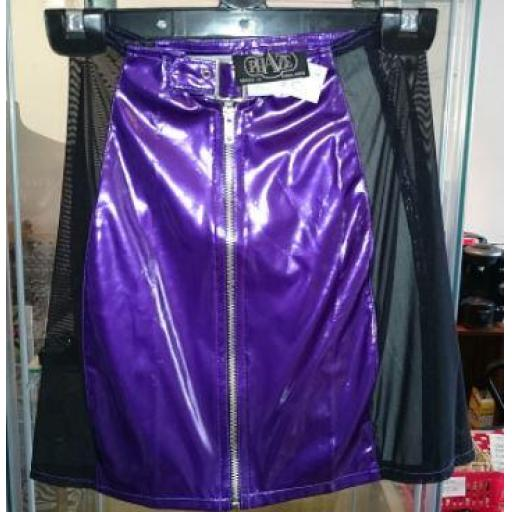 Purple with mesh panels PVC skirt.