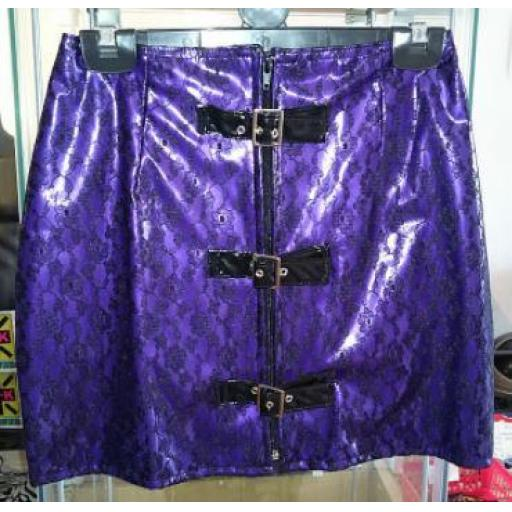 Purple PVC and lace skirt.