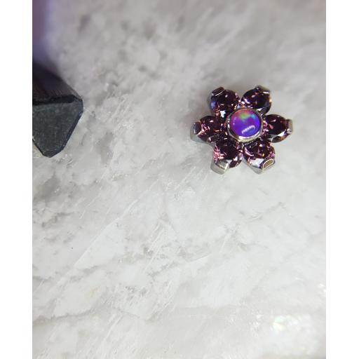 Lilac gem and synthetic opal flower