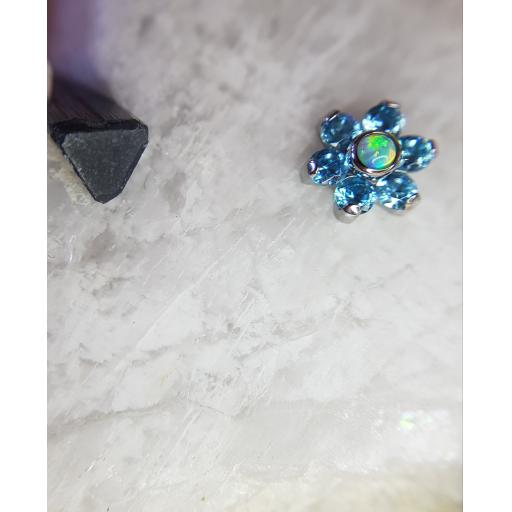Baby blue and synthetic opal flower
