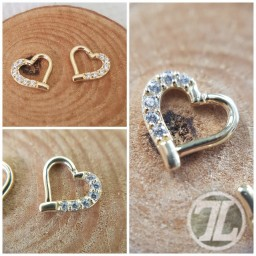 Solid 14k hinged hearts for daith