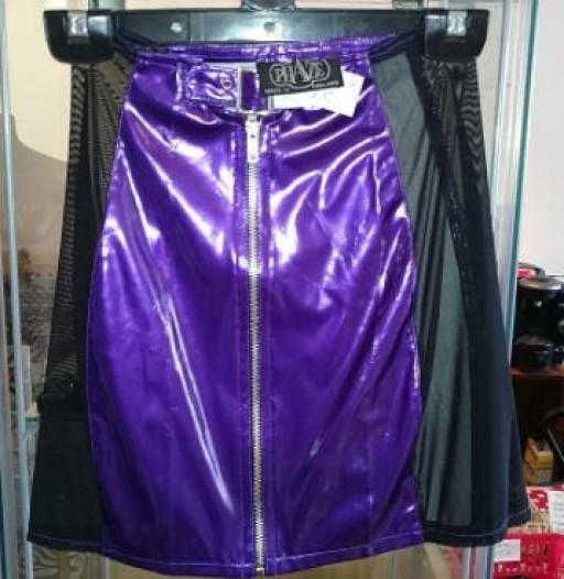 Purple with mesh panels PVC skirt.