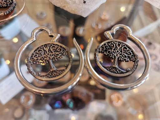 Tree of life chunky earrings for stretched ears.