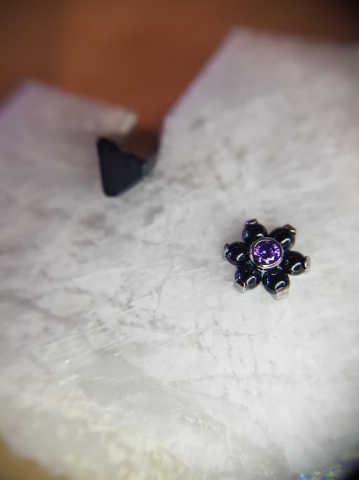 Black and purple gemmed flower
